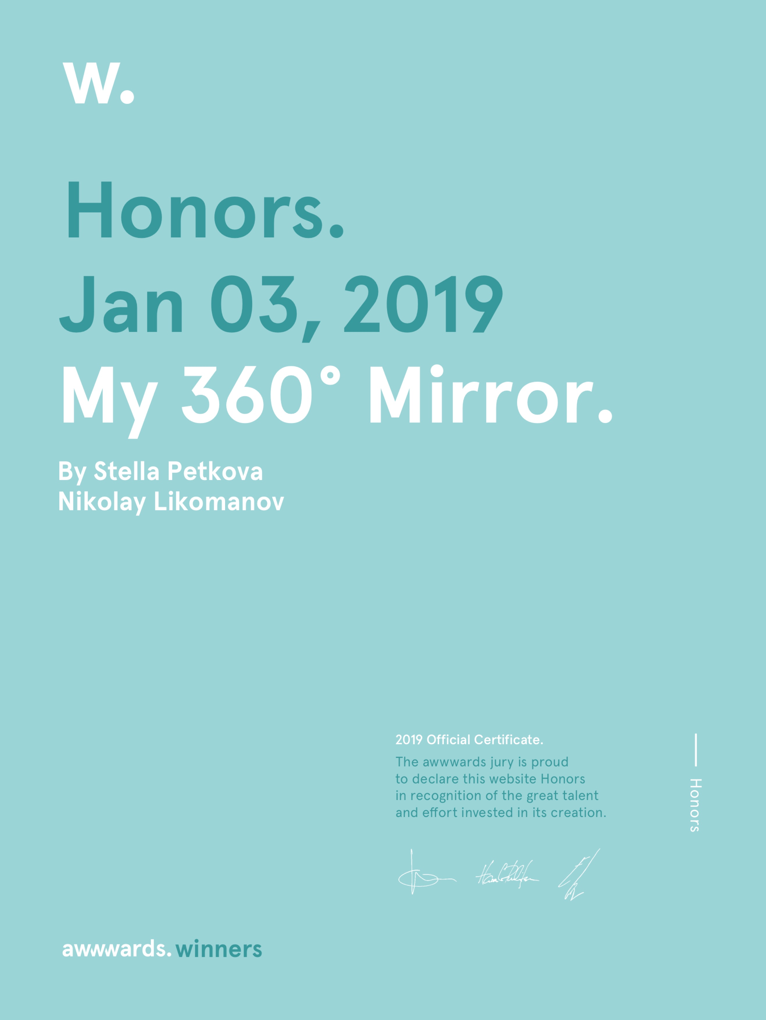 Awwwards Honors Certificate - My 360 Mirror