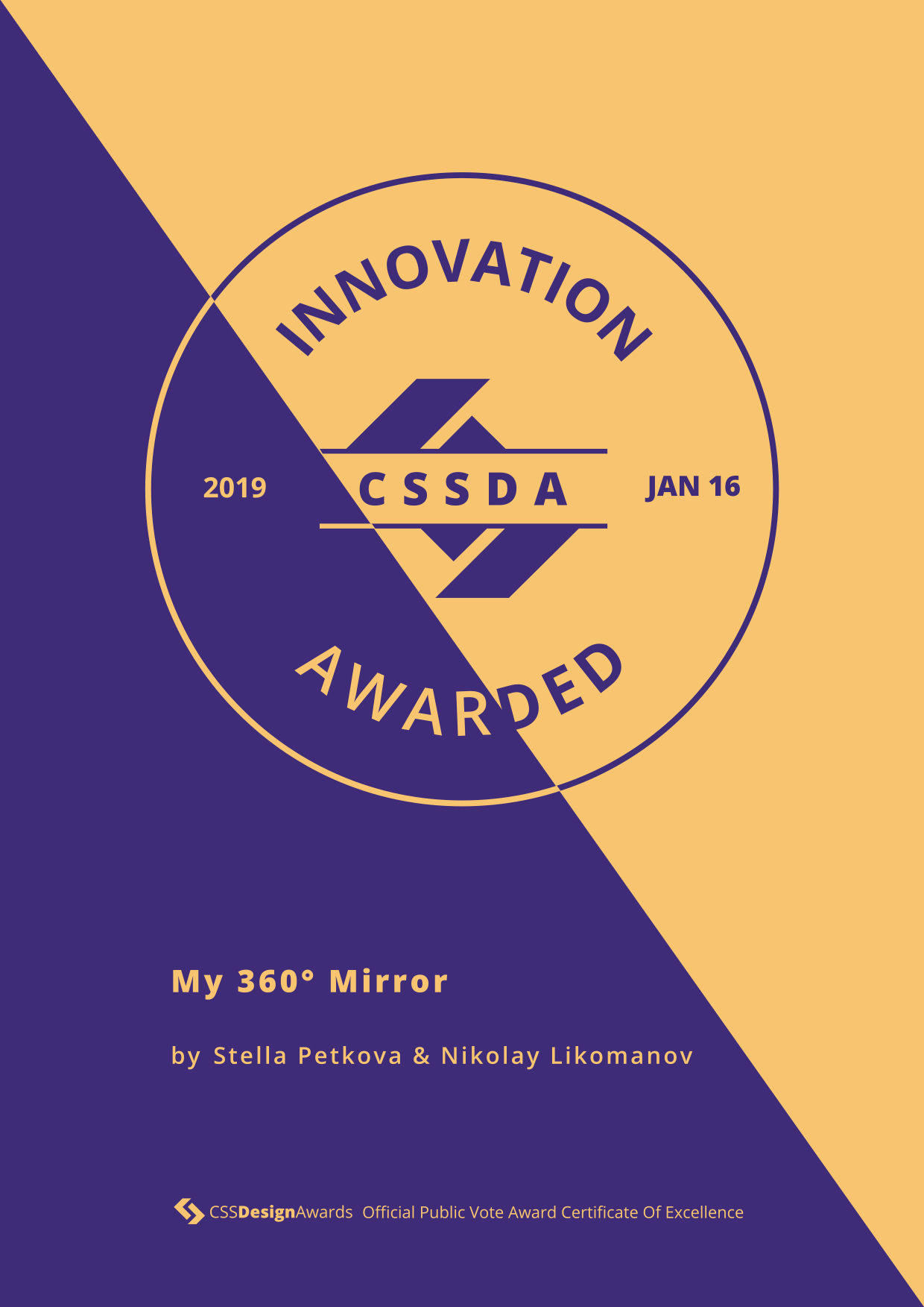 CSS Design Awards Innovation Certificate - My 360 Mirror