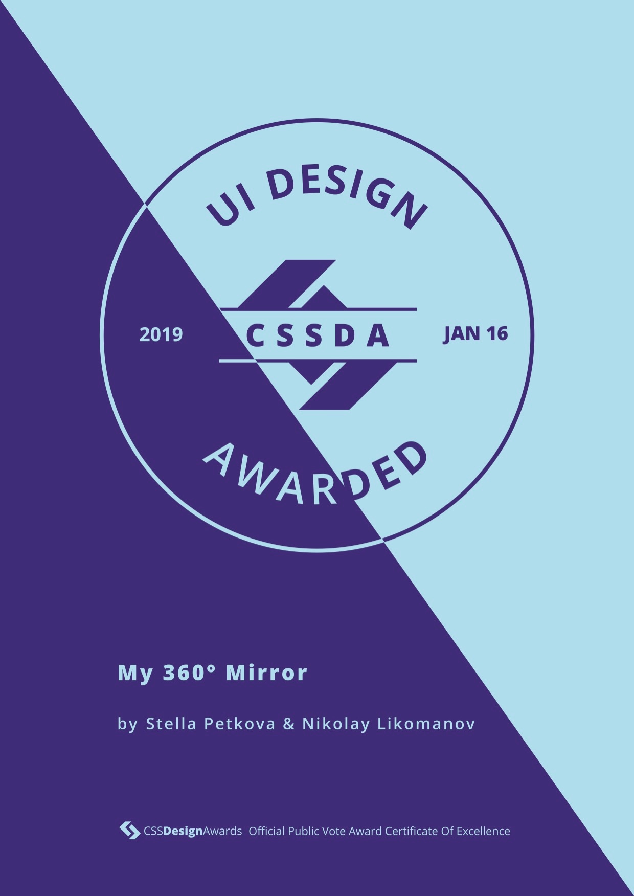 CSS Design UI Innovation Certificate - My 360 Mirror