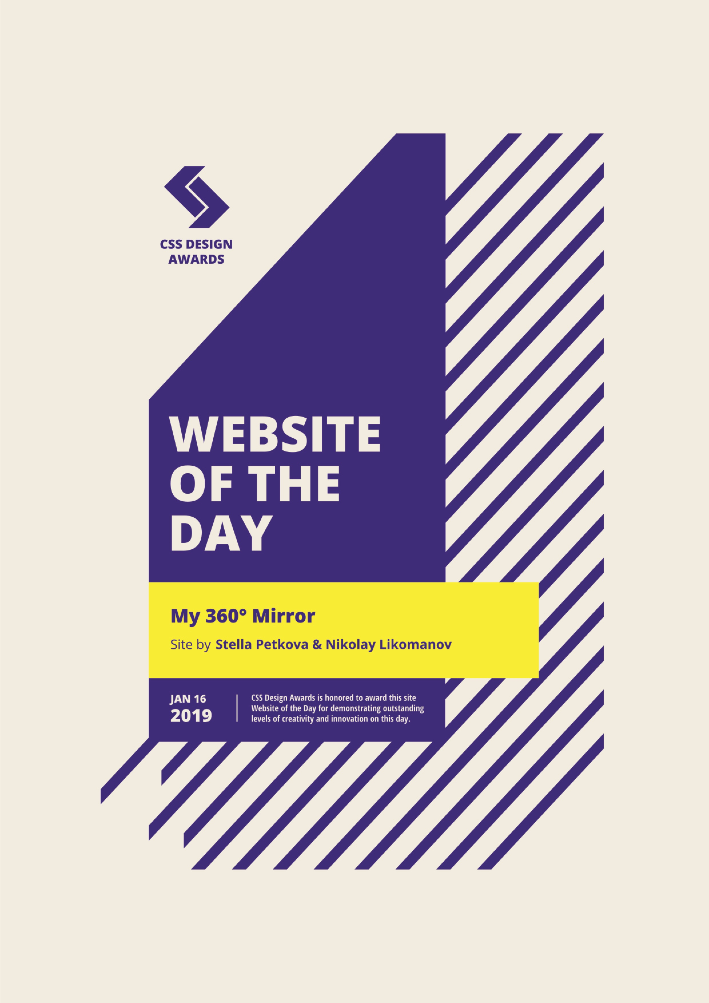 CSS Design Awards Site of the day Certificate - My 360 Mirror
